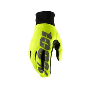 100 Percent Hydromatic Waterproof Motocross Gloves - Neon Yellow