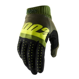 100 Percent Ridefit Motocross Gloves - Army Green/ Fluo Lime/fatigue
