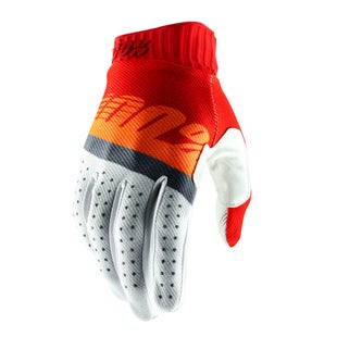 100 Percent Ridefit Motocross Gloves - Red/fluo Orange/slate Blue