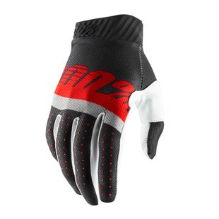 100 Percent Ridefit Motocross Gloves - Steel Grey/red