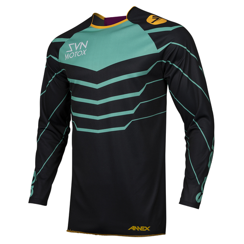 Seven 19.1 Annex Youth Exo Youth Motocross Jerseys - Black Aqua