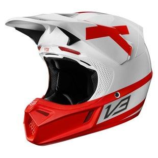 Fox Racing V3 Preest LE Motocross Helmet - White / Red