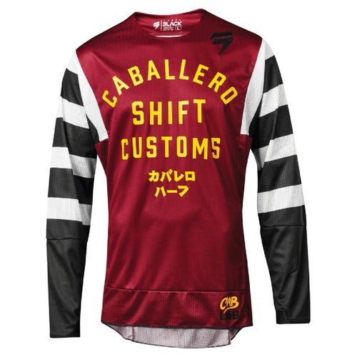 Shift 3lack Caballero X Label Strike MX Motocross and Enduro Jer Motocross Jerseys - Dark Red
