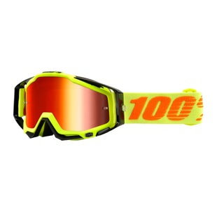 100 Percent Racecraft Abyss Motocross Goggles - Attack Yellow ~ Mirror Red Lens