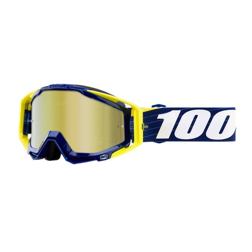 100 Percent Racecraft Motocross Goggles - Bibal Navy ~ Mirror Gold Lens