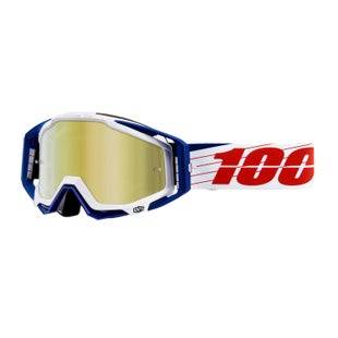100 Percent Racecraft Abyss Motocross Goggles - Bibal White ~ Mirror Gold Lens