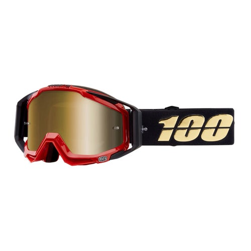 100 Percent Racecraft Abyss Motocross Goggles - Hot Rod ~ Mirror True Gold Lens