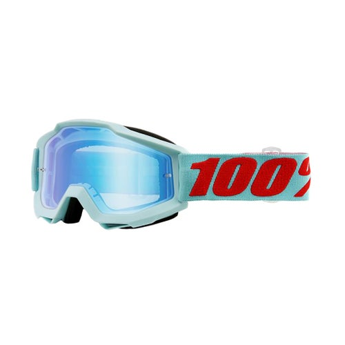 100 Percent Accuri Motocross Goggles - Maldives ~ Mirror Blue Flash Lens