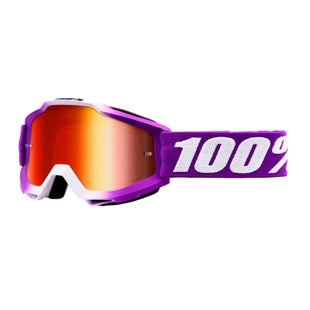 100 Percent Accuri Motocross Goggles - Framboise ~ Mirror Red Lens