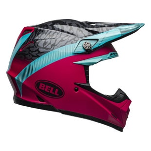 Bell Moto-9 Mips MX Helm - Chief Matte Gloss Black Pink Blue