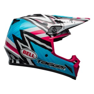 Bell Mx 9 Mips Motocross Helmet - Tagger Asymetric Blue Pink