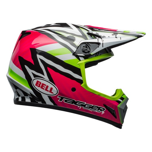 Bell Mx 9 Mips Motocross Helmet - Tagger Asymetric Pink Green