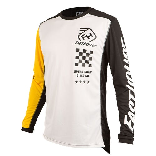 Fasthouse Icon L1 Motocross Jerseys - White/yellow