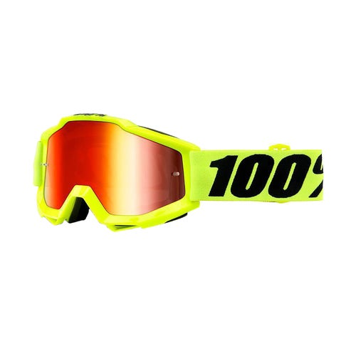 100 Percent Accuri Motocross Goggles - Fluo Yellow ~ Red Mirror Lens