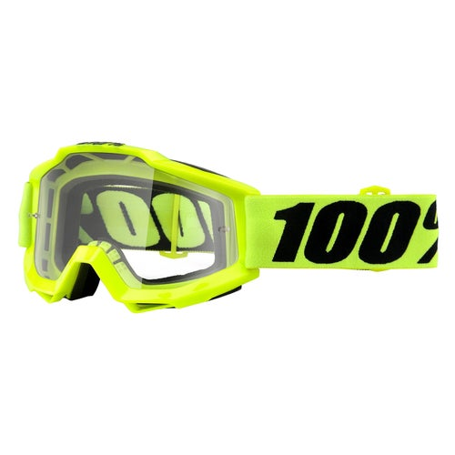 100 Percent Accuri Motocross Goggles - Fluo Yellow ~ Clear Lens