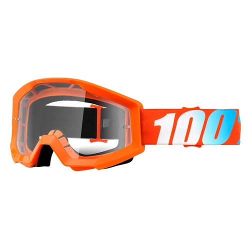 100 Percent Strata Motocross Goggles - Orange ~ Clear Lens