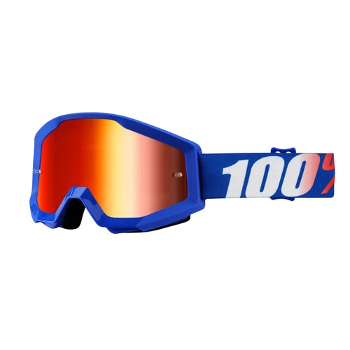 100 Percent Strata Motocross Goggles - Nation ~ Mirror Blue Lens
