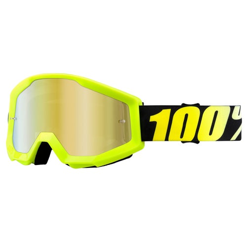 100 Percent Strata Motocross Goggles - Neon Yellow ~ Mirror Gold Lens