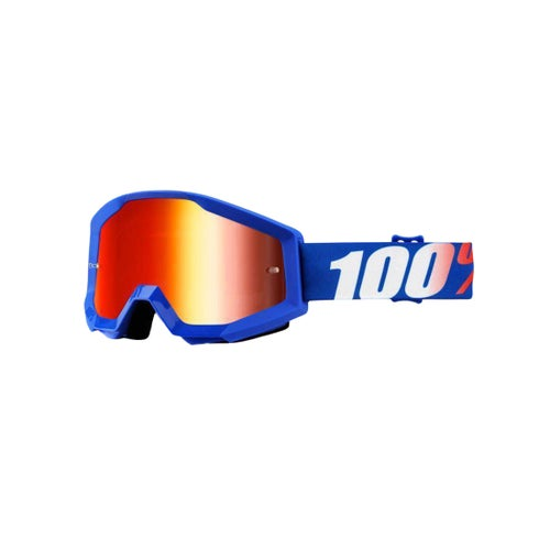 100 Percent Strata YOUTH Youth Motocross Goggles - Nation ~ Mirror Blue Lens
