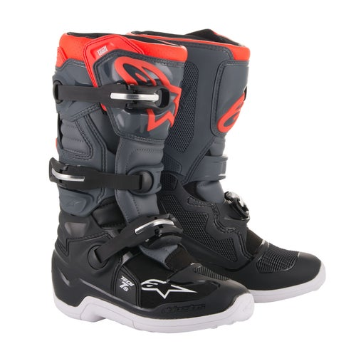 Alpinestars Tech 7 S Boys Motocross Boots - Black Dark Gray Red Fluo