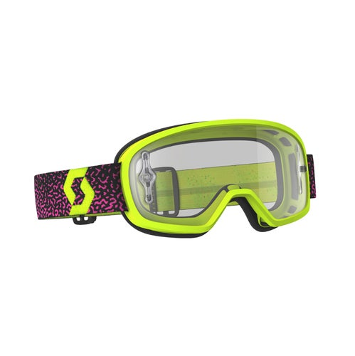 Scott Sports Buzz Pro YOUTH Motocross Goggles - Yellow Pink ~ Clear Lens