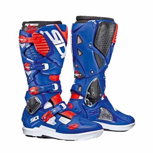 Bottes MX Sidi Crossfire 3 SRS - White Blue Flou Red
