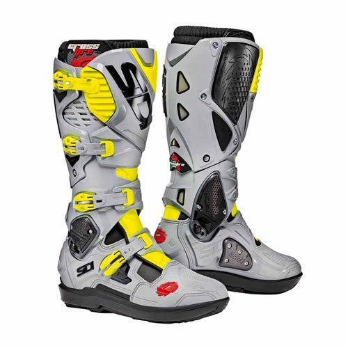 Sidi Crossfire 3 SRS Motocross Boots - Flou Yellow Grey Ash
