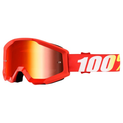 100 Percent Strata YOUTH Motocross Goggles - Furnace ~ Mirror Red Lens