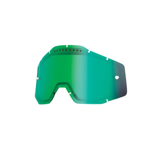 100 Percent Dual Vented Motocross Goggle Lense - Mirror Green Vented Dual