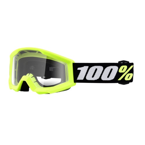 100 Percent Strata Mini KIDS Motocross Goggles - Yellow ~ Clear Lens