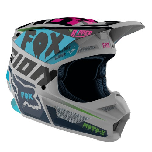 Fox Racing V1 Czar , MX-hjelm - Light Grey