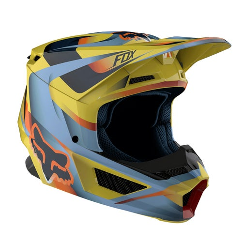Fox Racing V1 Motif Motocross Helmet - Yellow