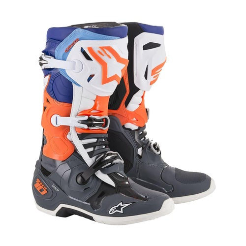 Alpinestars Tech 10 Motocross Boots - Cool Gray Orange Fluo Blue Wht