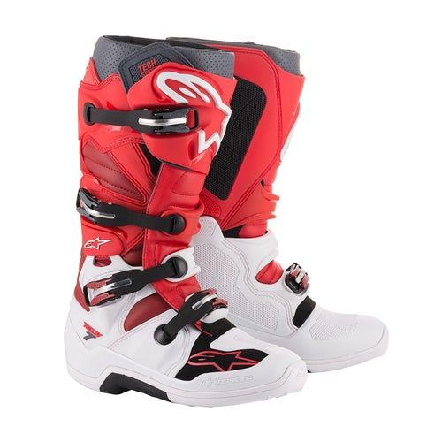 Alpinestars Tech 7 Motocross Boots - White Red Burgundy