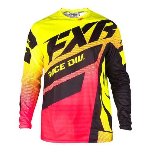 FXR Clutch Podium Motocross Jerseys - Hivis/coral Fade/black