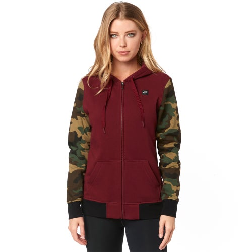 Fox Racing Everglade Camo Fleece Dames Hoody met Rits - Crnbry