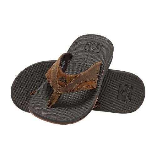b978f3caa Reef Leather Fanning Flip Flops - Brown