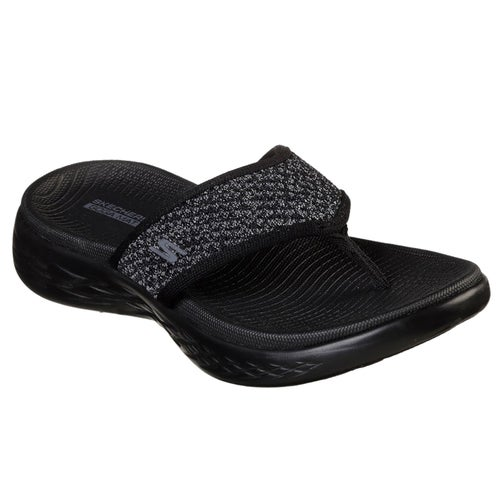 62f5c21e3de Skechers On The Go 600 Glossy Ladies Sandals - Black Grey