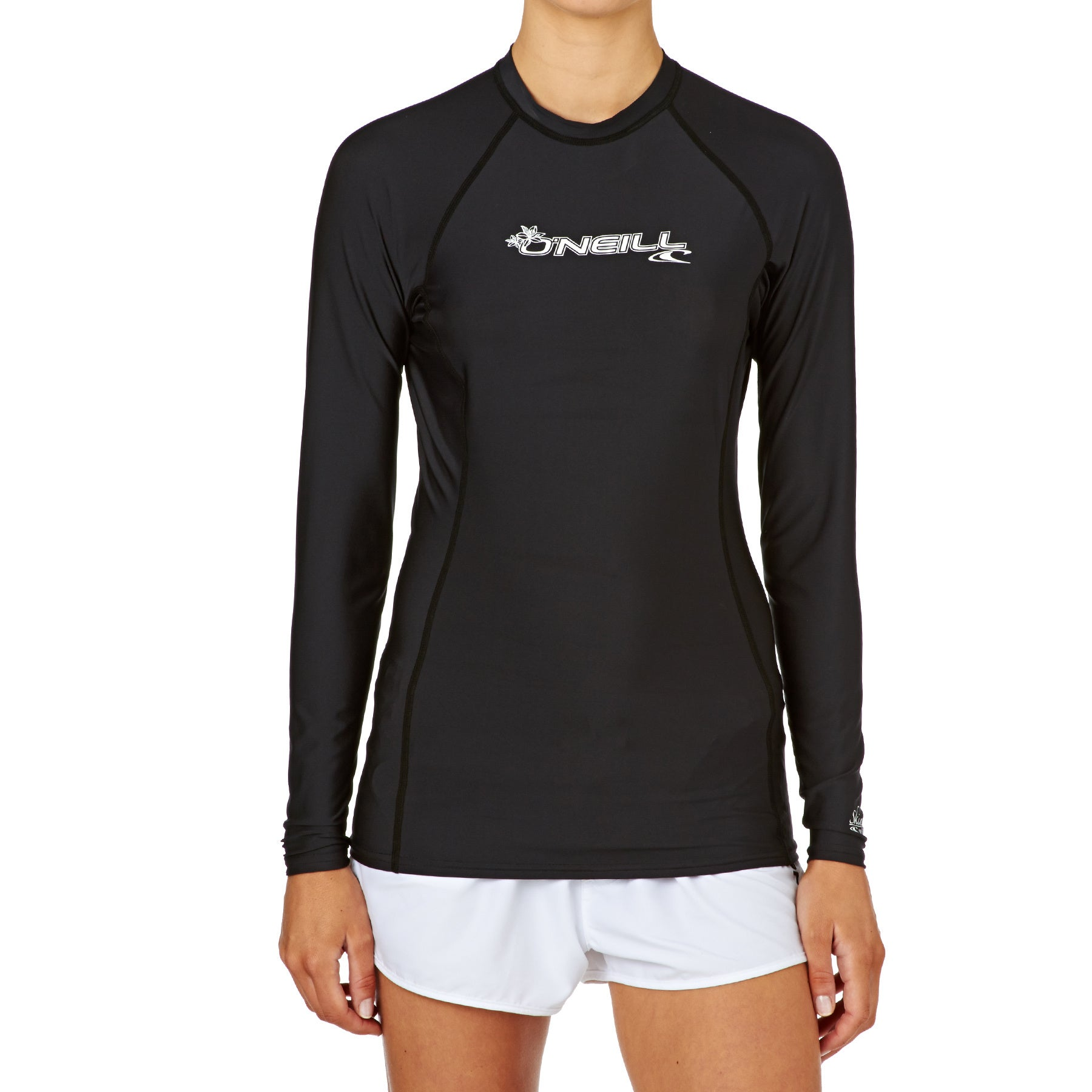 O Neill Basic Skins Long Sleeve Crew Ladies Rash Vest