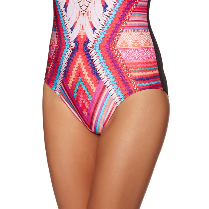 Seafolly Desert Tribe Deep V Maillot Ladies Swimsuit