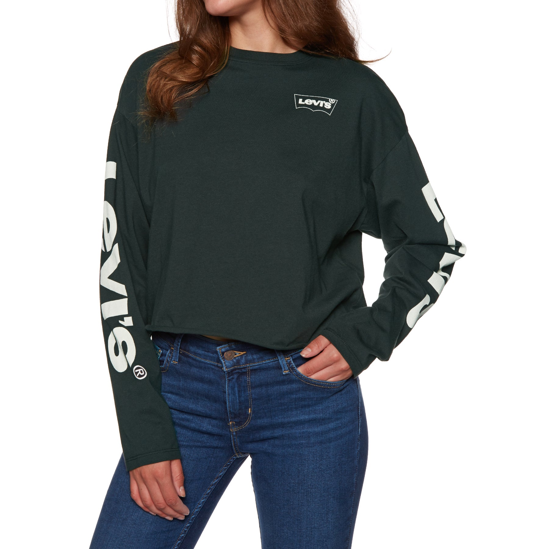 Levis Graphic Crop Ls Tee Housemark Play Cavi Ladies Long Sleeve T-Shirt