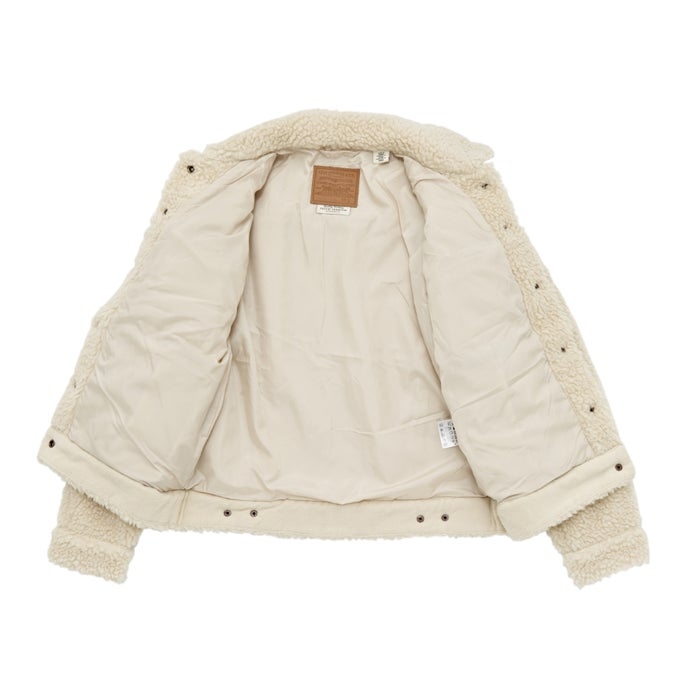 Levis All Over Sherpa Trucker Cloud Cream Ladies Jacket