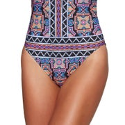 "Seafolly Sun Temple Deep ""v"" Maillot Ladies Swimsuit"