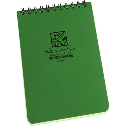 "Rite In The Rain Universal Notebook, Top Spiral Bound, 4"" X 6"" (50 Sheets) Book - Green/green"