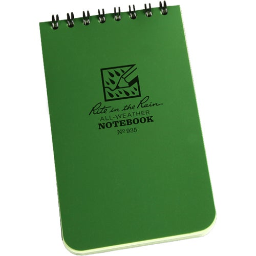 Rite In The Rain Universal Notebook, Top Spiral Bound, 3 Book - Green/green