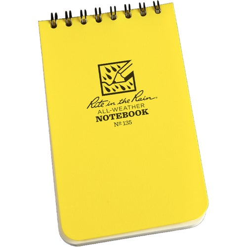 Rite In The Rain Universal Notebook, Top Spiral Bound, 3 Book - White/yellow