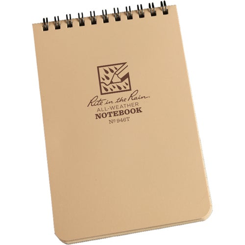 "Rite In The Rain Universal Notebook, Top Spiral Bound, 4"" X 6"" (50 Sheets) Book - Tan/tan"