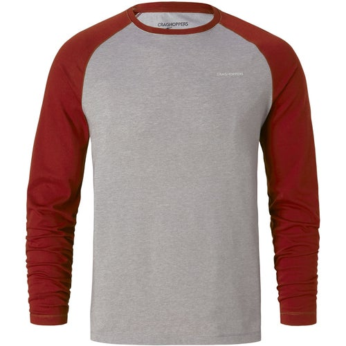 Craghoppers NosiLife Bayame Long Sleeve T Shirt - Red Earth Soft Grey Marl