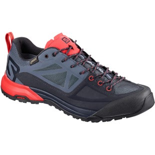 Salomon X Alp SPRY GTX Womens Walking Shoes - Graphite Crown Blue Poppy Red