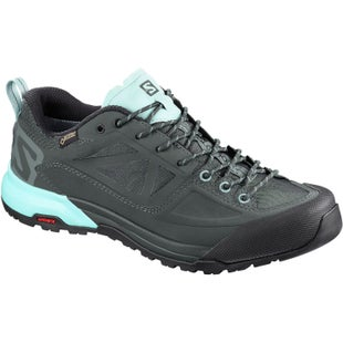 Salomon X Alp SPRY GTX Womens Walking Shoes - Balsam Green Urban Chic Canal Blue